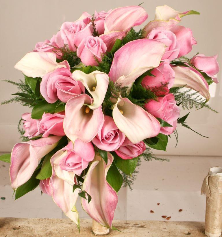 Blush mini calla lily & mauve rose Bridal Bouquet