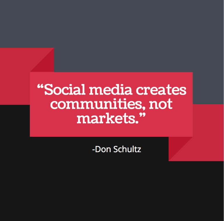 social media creates communities, not markets