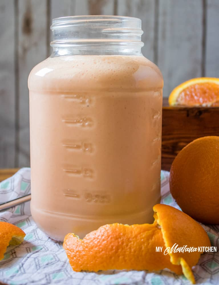 Orange Smoothie, Creamsicle Shake (THM-E, Sugar Free) #trimhealthymama #thm #thme #lowfat #sugarfree #orange #creamsicle #smoothie #shake #orangecreamsicle