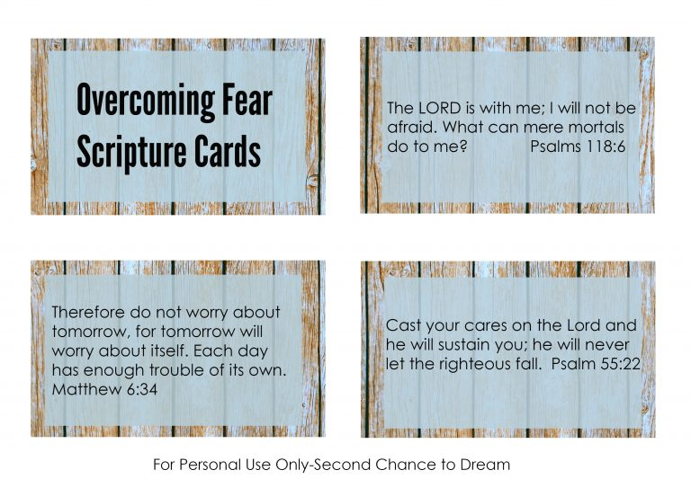 Second Chance to Dream: Printable Overcoming Fear Scripture Cards You don't have to life with fear. These cards are perfect to put in your purse or car for those times fear creeps up on you. #FEAR #Biblestudy