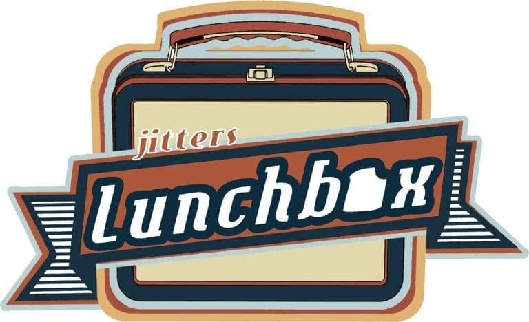 Logo of jitters Lunchbox with a 50s era lunch pail