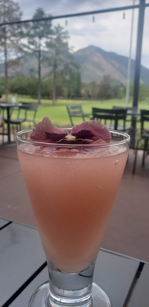 Pink drink sits on patio table outdoors with Mount Elden in the distance