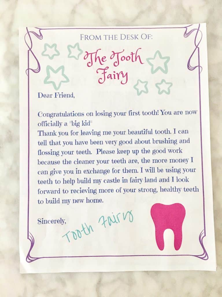 Bright image with tooth fairy letter printable