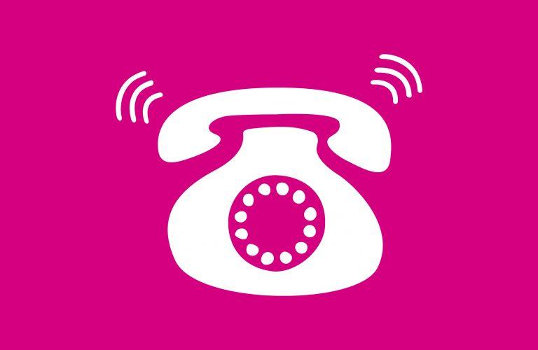 Cartoon phone on pink background