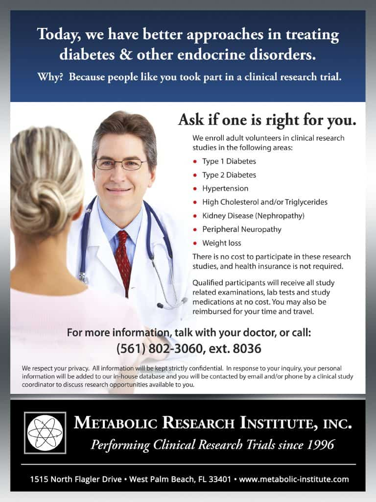 Metabolic Research Institute in West Palm Beach clinical trials poster
