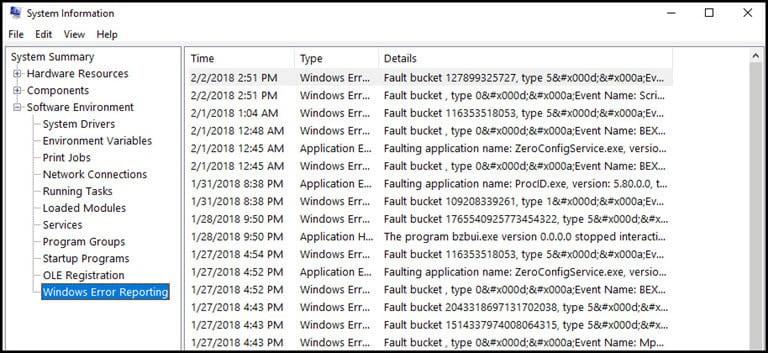 Windows error reporting log.