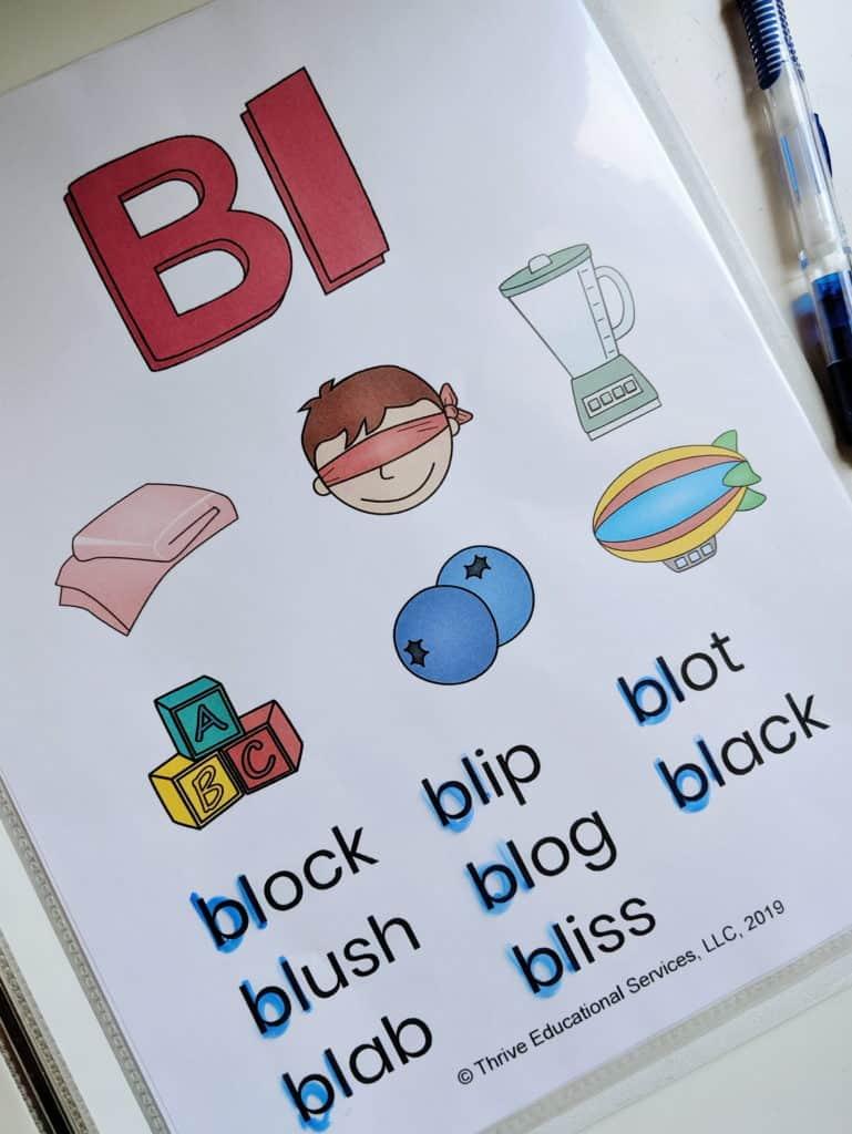 L blends word list