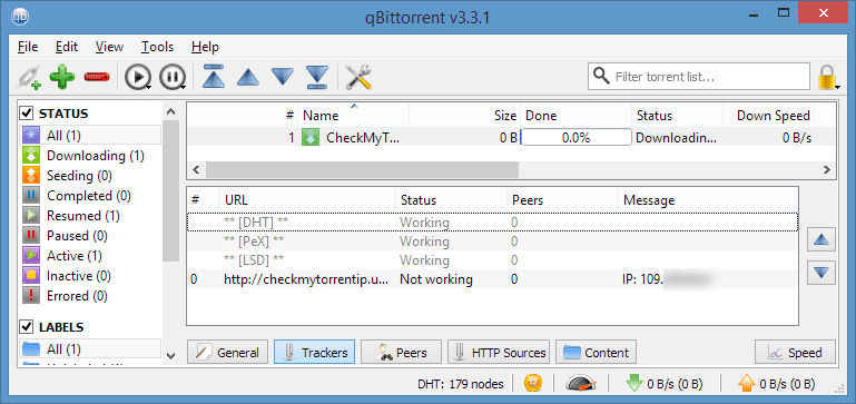 Tracking torrent 'trackers' view in Qbittorrent