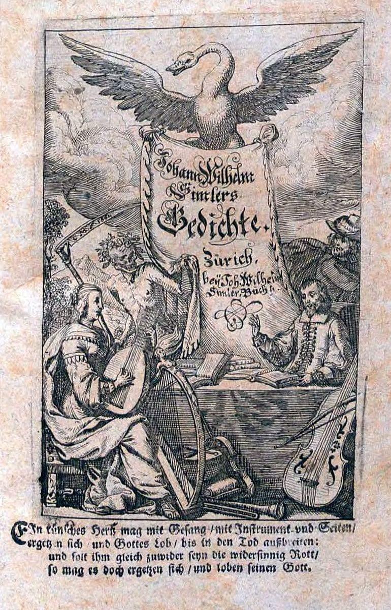 """Johann Wilhelm Simler """"Teutsche Gedichte"""" Deckblatt"""