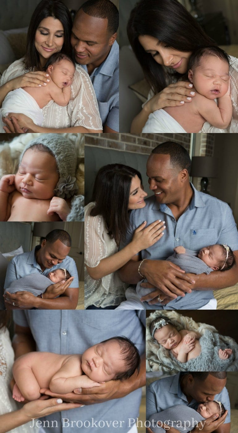 newborn session at home featuring gray, blue and gold for baby girl