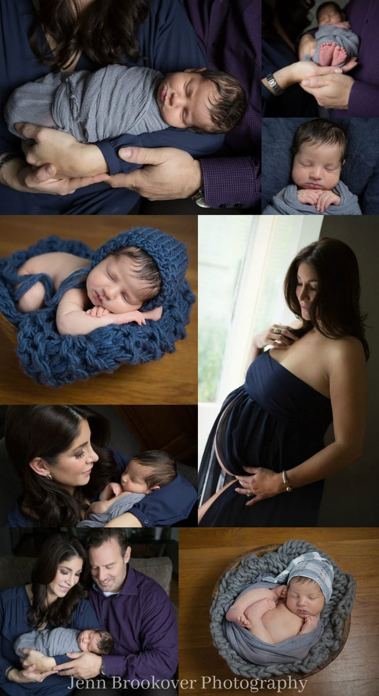 newborn and maternity session at home featuring gray, navy and purple for a baby boy