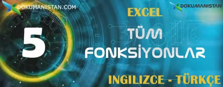 Excel Tüm Fonksiyonların İngilizce Türkçe Karşılıkları