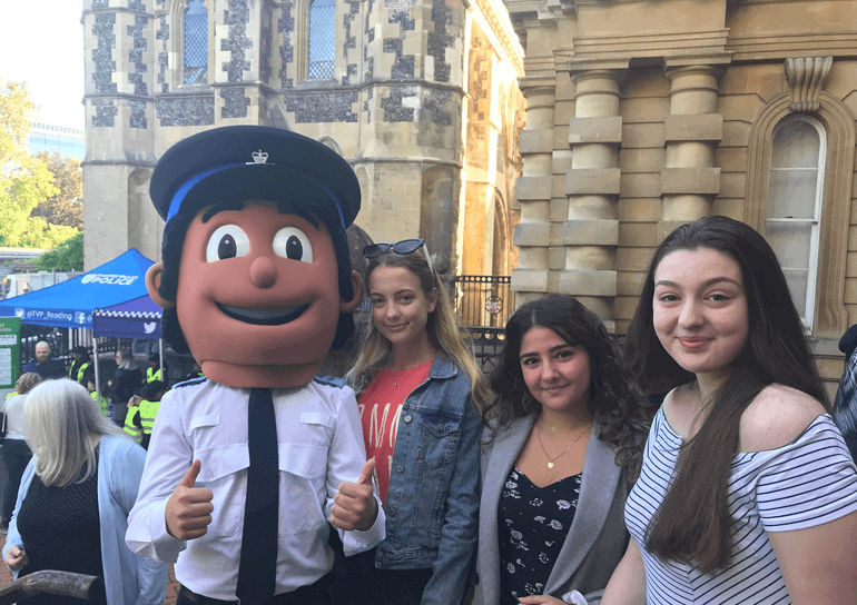 Three A Level Psychology students outside Reading Crown Courts