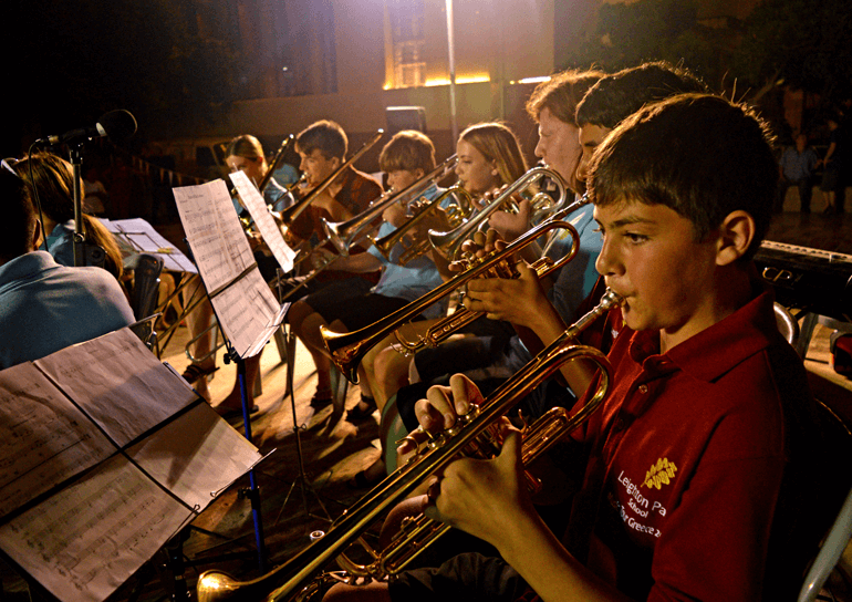 Leighon Park pupils playing instruments as part of a music tour to Greece