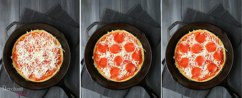 Three overhead images showing cheese, pepperoni and baked version of Socca Pizza by themerchantbaker.com