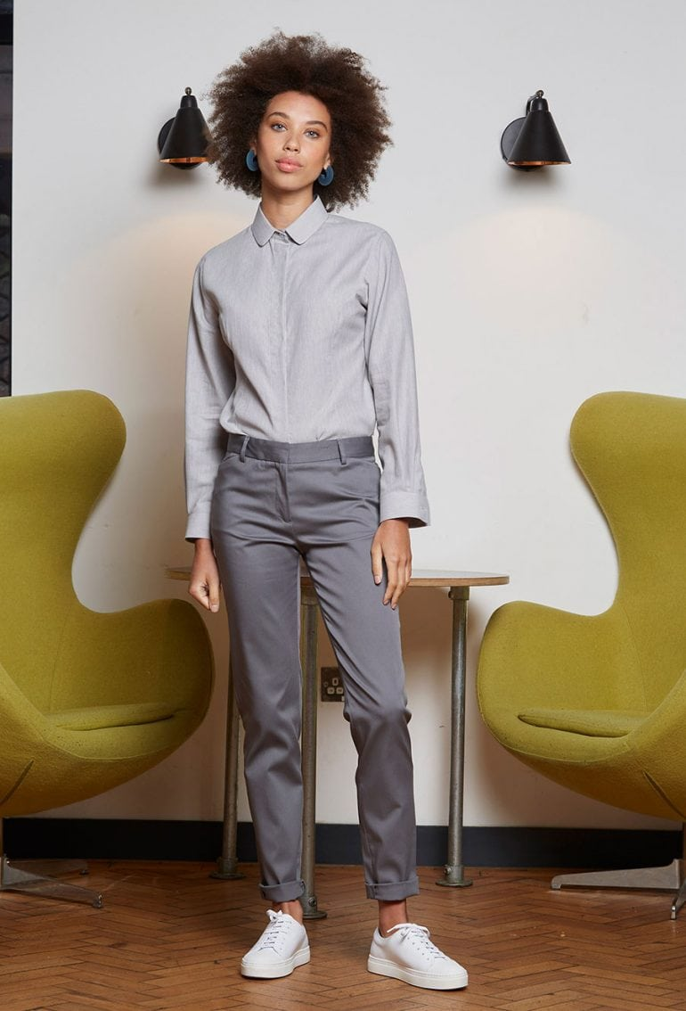 female formal fitted shirt - gray herringbone