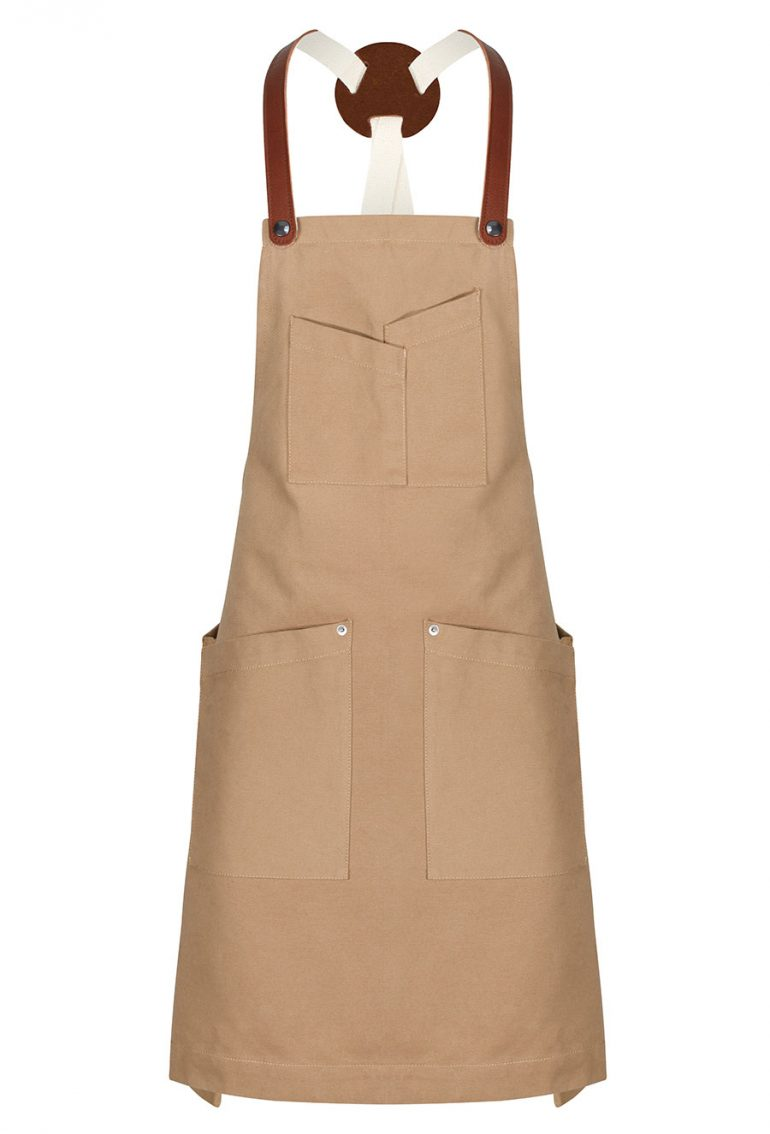 Slant Pocket Bib - tan - front