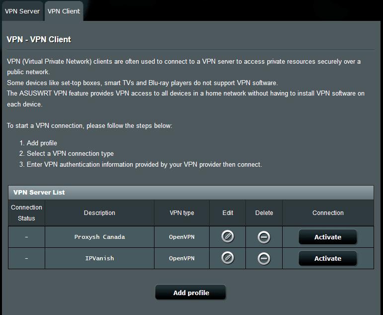 Asus VPN Client settings