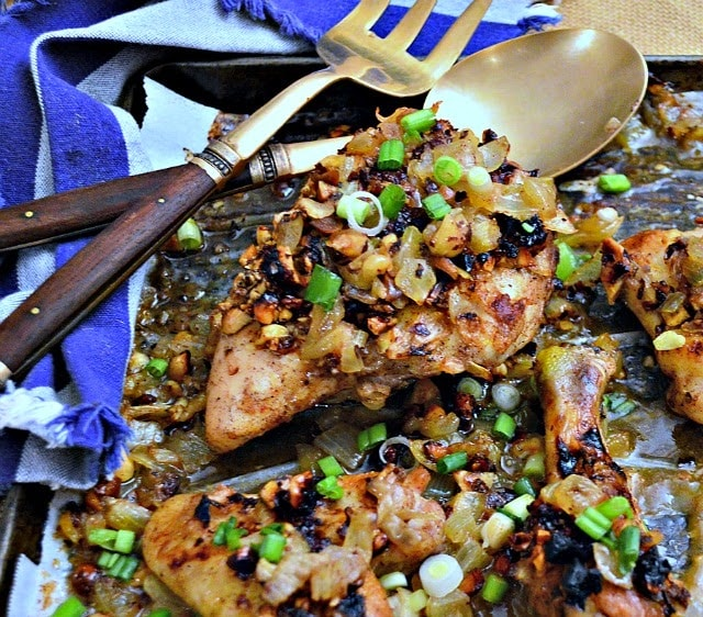 Roast chicken with hazelnuts and honey