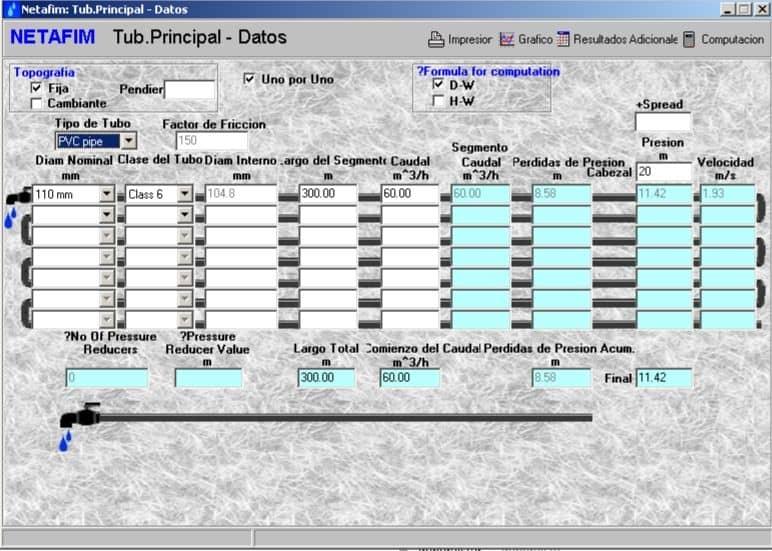 Cálculo de pérdida de carga con Hydrocalc