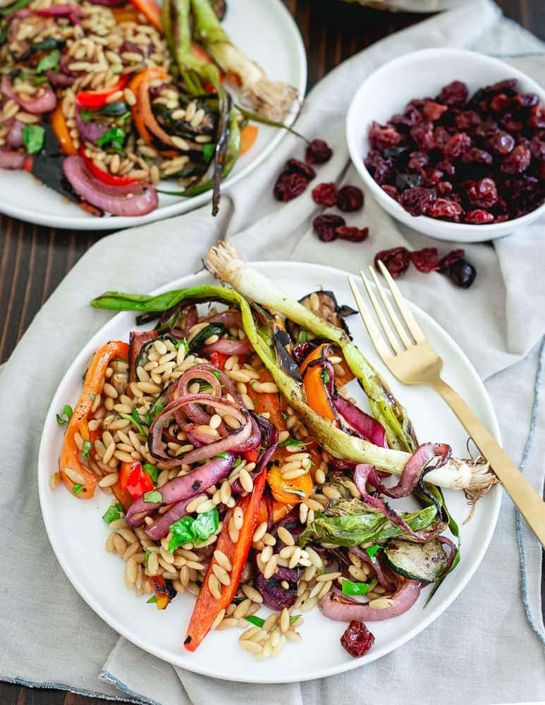 Summer vegetables are coated with a tart cherry balsamic glaze, grilled and then combined with orzo for a deliciously seasonal pasta salad. Great served warm or cold!