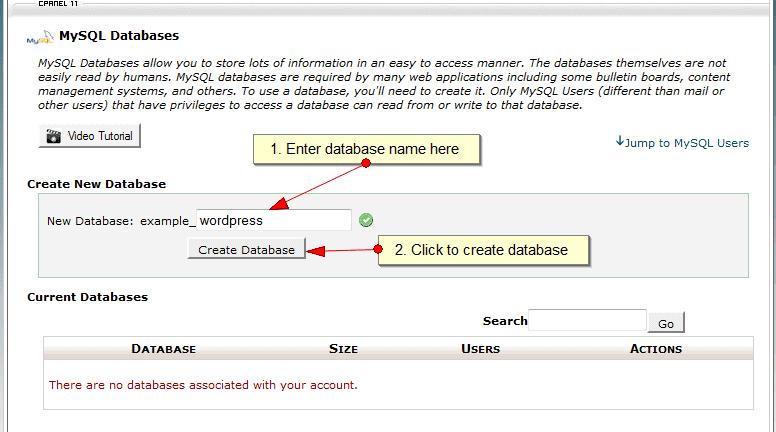 Create mysql database in Cpanel