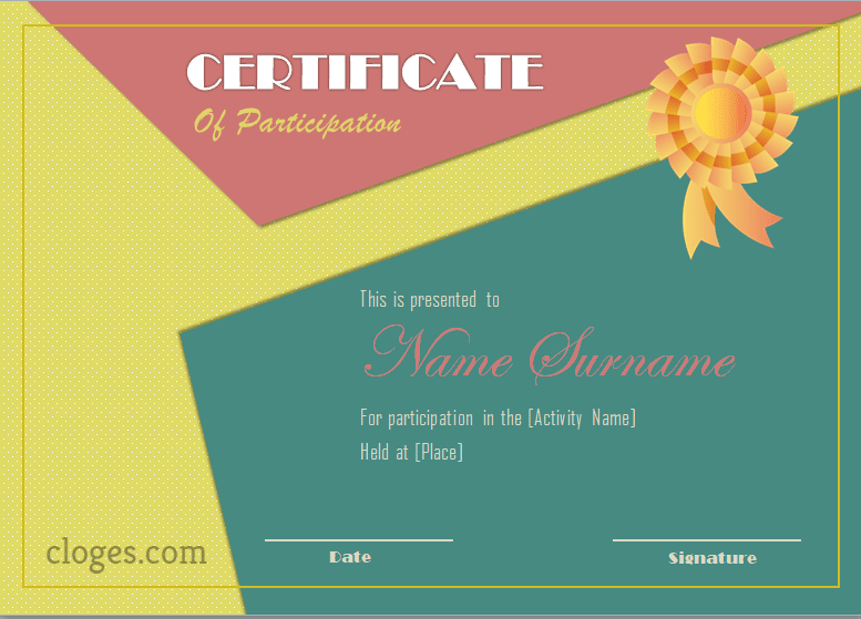 Pink Certificate Of Participation Word Template Editable