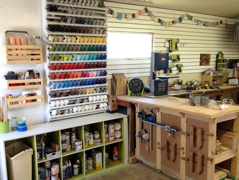 Spray paint organization rack - tool organization ideas