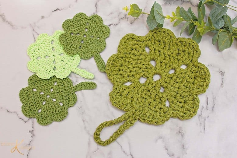 Coasters and Shamrock Potholder Crochet Pattern