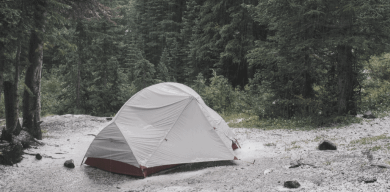 tent in wood after rain