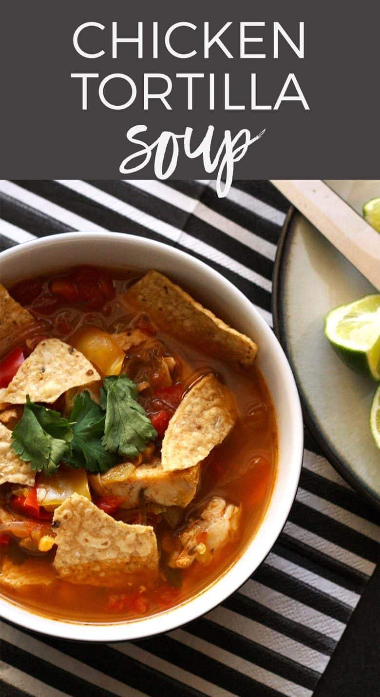 This chicken tortilla soup is easy to make thanks to pre-cooked chicken - you can even use a rotisserie chicken. It is full of vegetablesand spice! Make it anytime of year for the perfect feel good soup recipe!