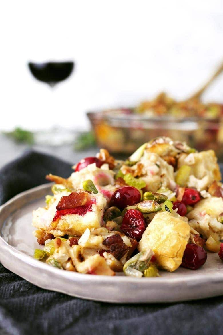 Homemade bacon cranberry pistachio dressing on a plate