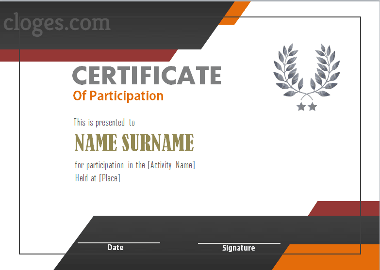 Cozy Word Certificate Of Participation Template