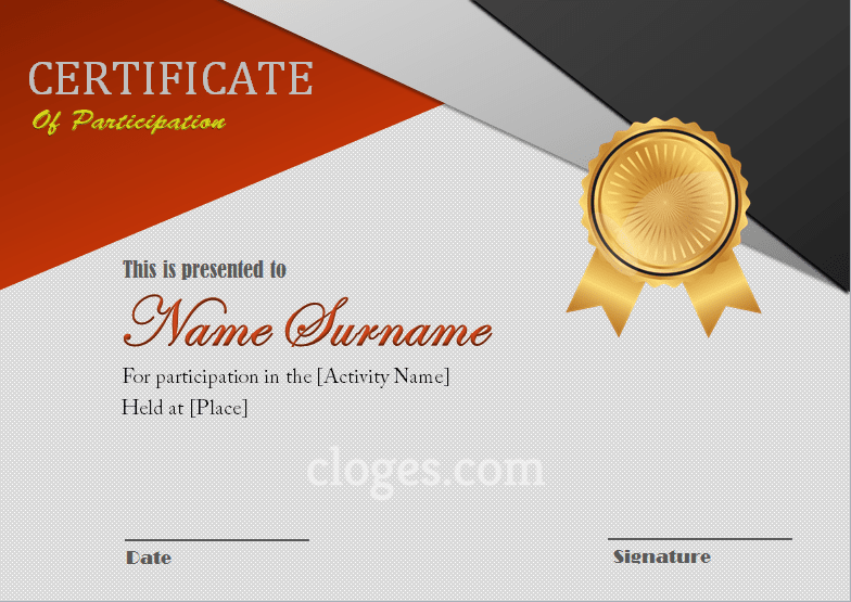Red Certificate Of Participation Word Template Editable
