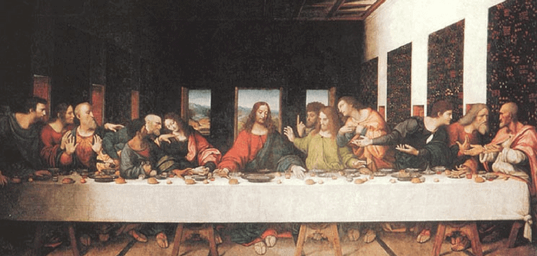 "Jesus sits at center of table, 6 disciples gesturing at each side. ""Lord, is it I?"" Colors are brighter in thei copy of The Last Supper Da Vinci. This image helps in Encountering God through art"