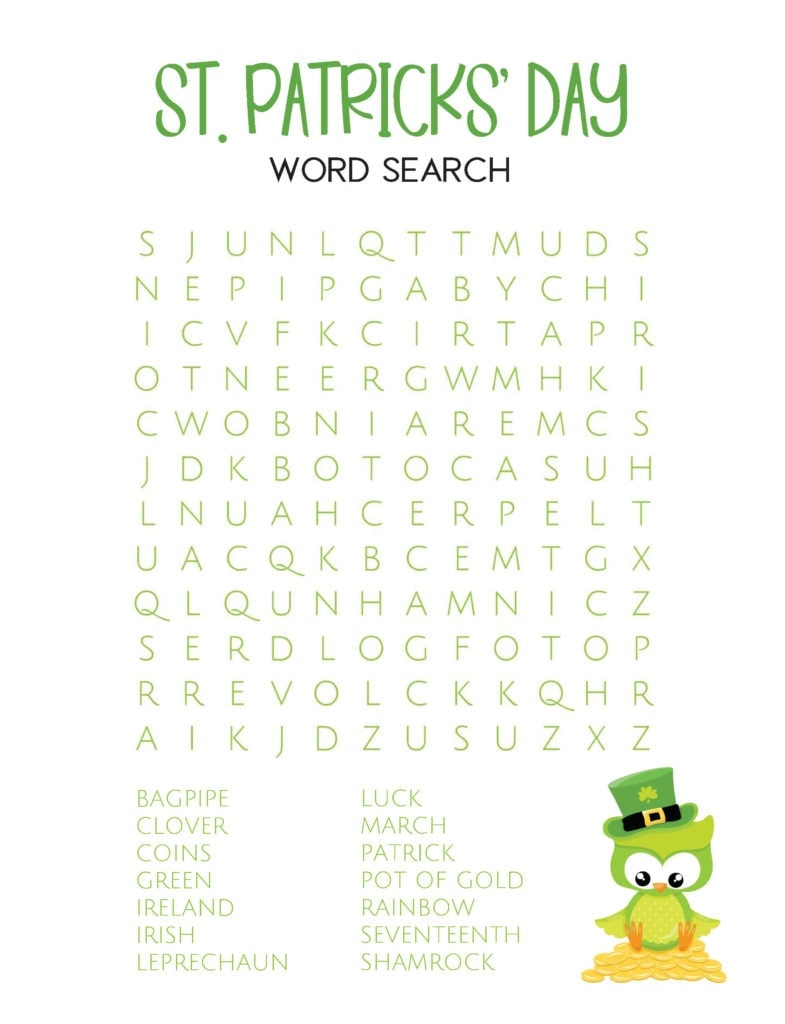 st. patricks day word search