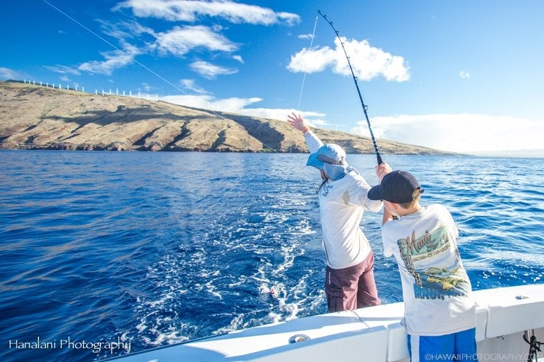 fishing off the shore from Maui
