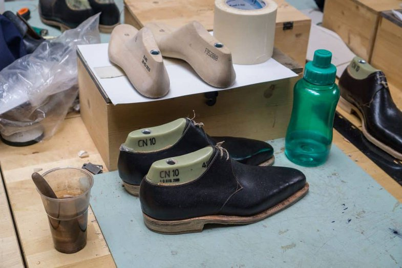 Work of one of the students in the shoemaking school.