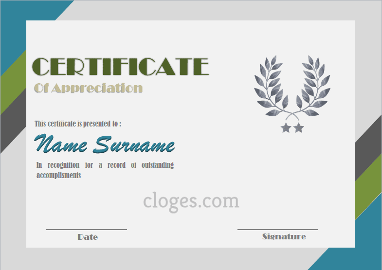 Retro Design Certificate Of Appreciation Template Word