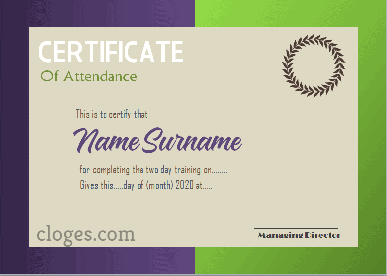 Glamor Microsoft Word Certificate Of Attendance Template