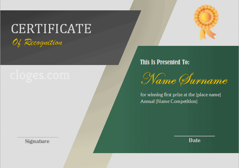 Green Editable Certificate Of Recognition Word Template