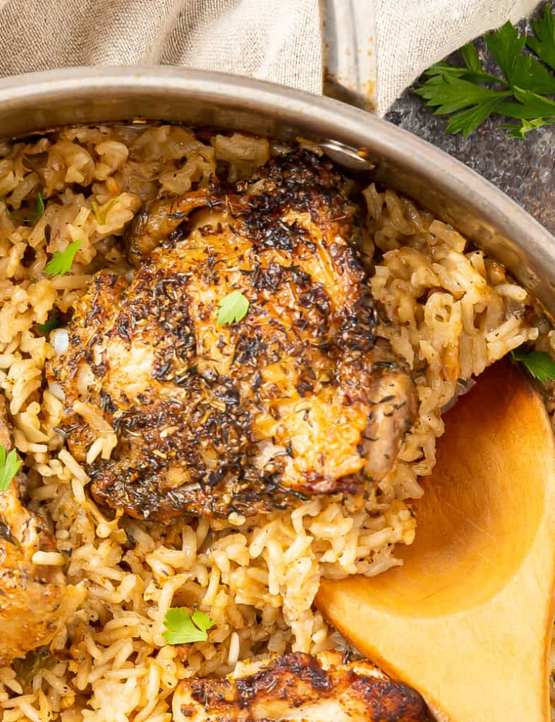 baked chicken thigh and rice casserole