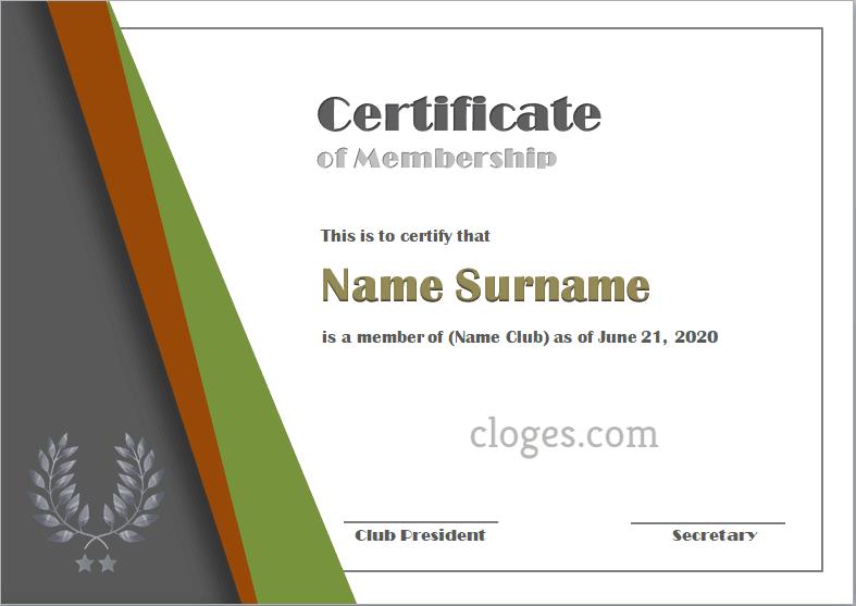 Classic Microsoft Word Certificate Of Membership Template