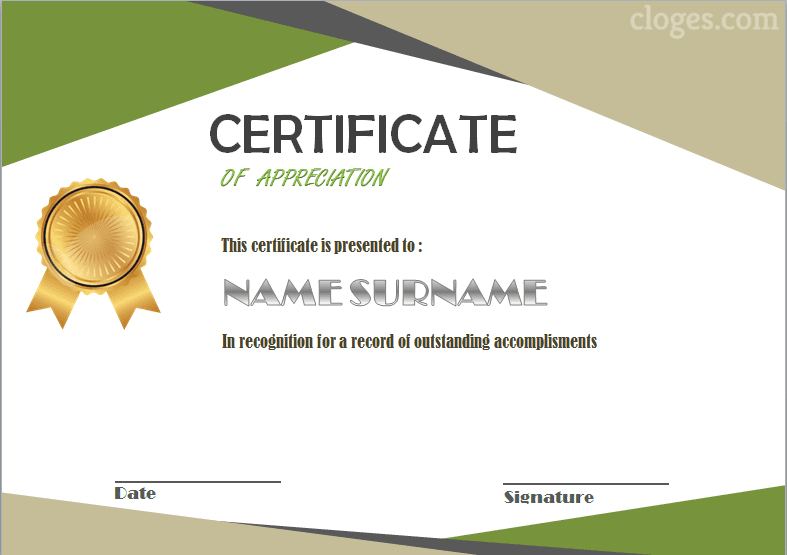 Beauty Word Certificate Of Appreciation Template