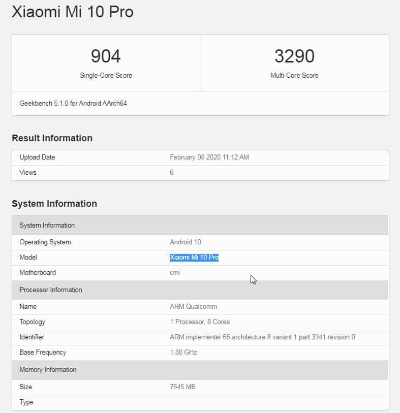 Mi 10 Pro com 8GB