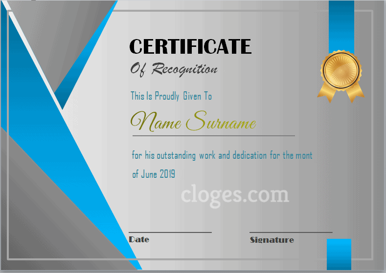 Editable Word Certificate Of Recognition Template