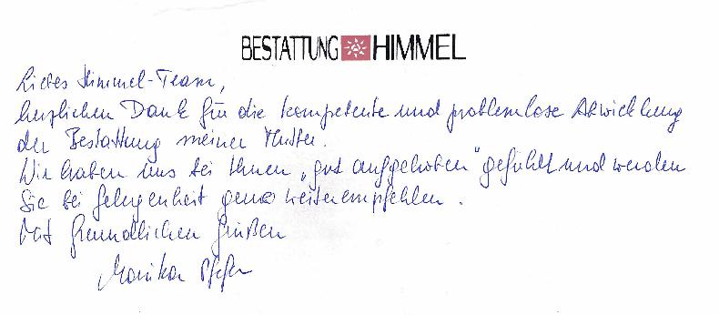 Danksagung - Bestattung AHIMMEL