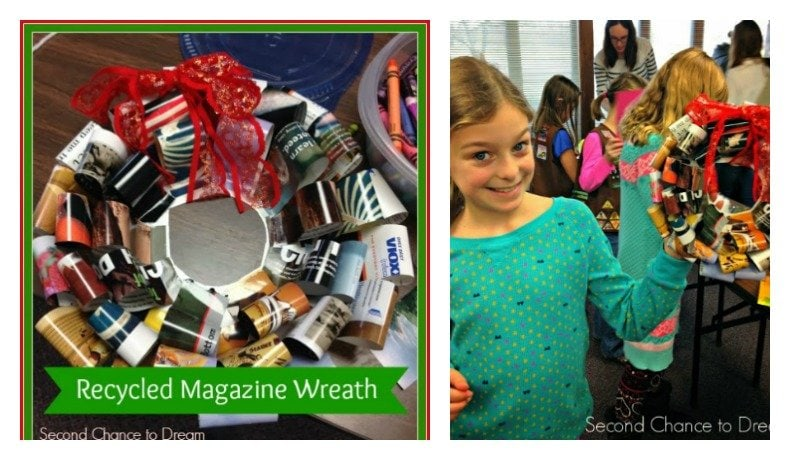 Second Chance to Dream: Recycled Magazine Wreath #Christmas #kidscraft