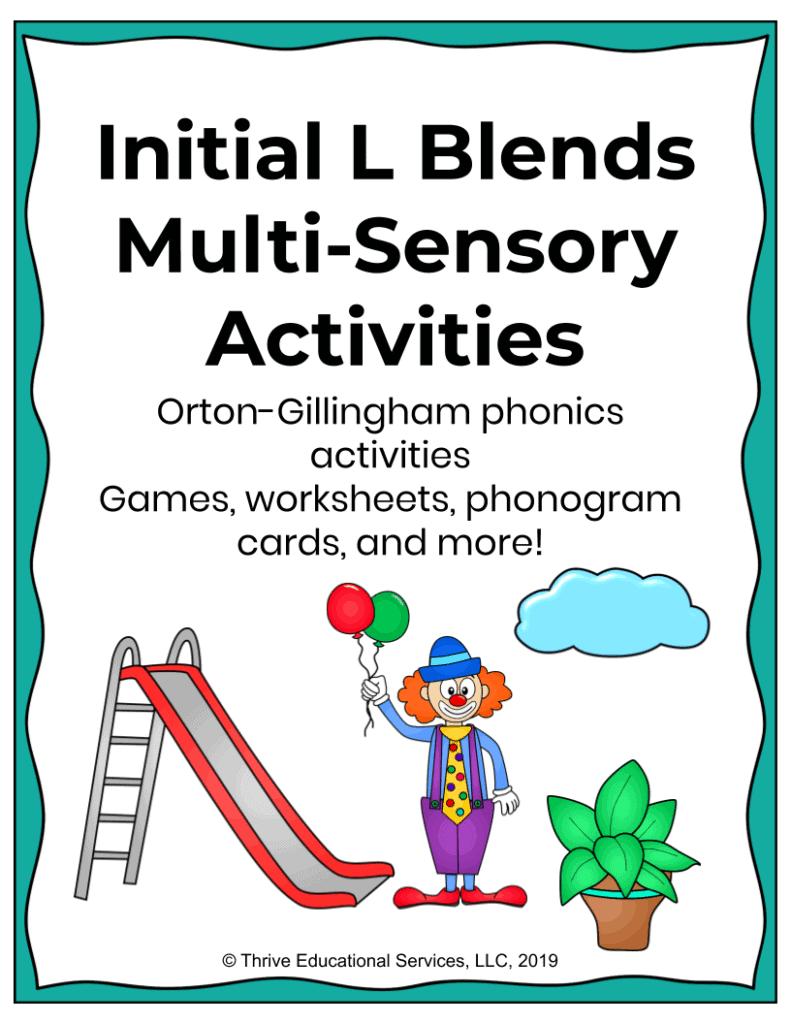multi-sensory l blends worksheets