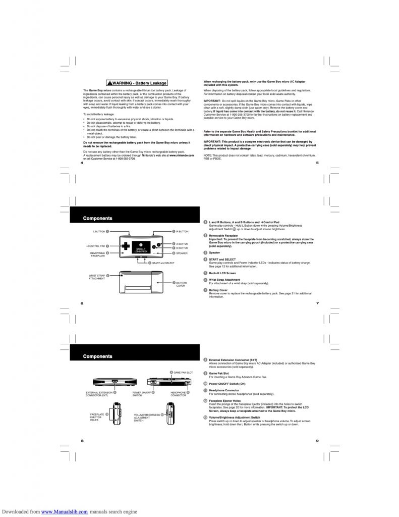 Game Boy Micro Manual Page 2